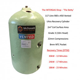 Ultra High Recovery 117 Litre Vented Hot Water Cylinder (900 x 450)
